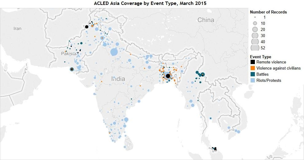 ACLED Asia Coverage by Event Type, March 2015