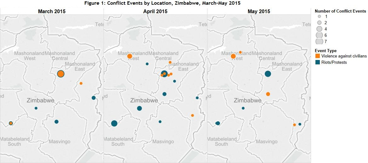 Figure 1 Conflict Events by Location, Zimbabwe, March-May 2015