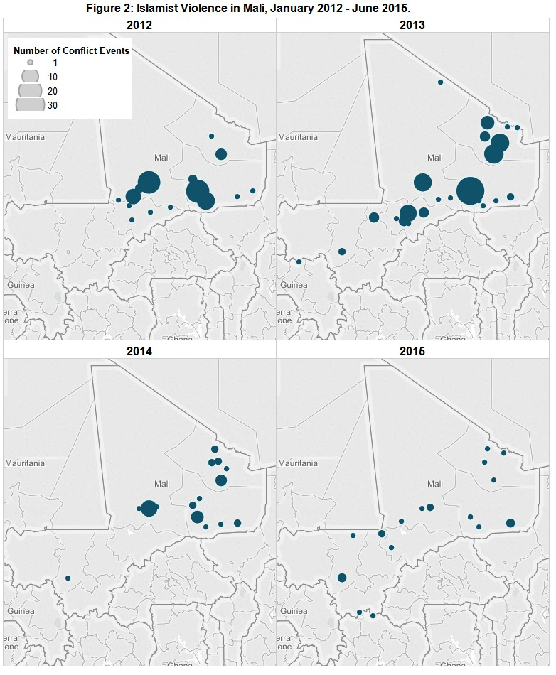 Figure 2 Islamist Violence in Mali, January 2012 - June 2015.